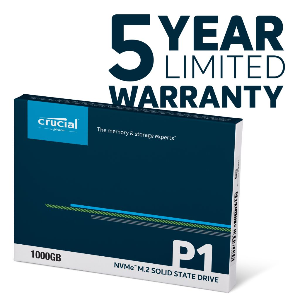 Crucial P1 1TB 3D NAND NVMe PCIe M.2 SSD - 5 year limited warranty
